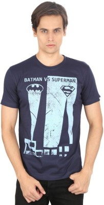 Planet Superheroes Graphic Print Men's Round Neck Blue T-Shirt