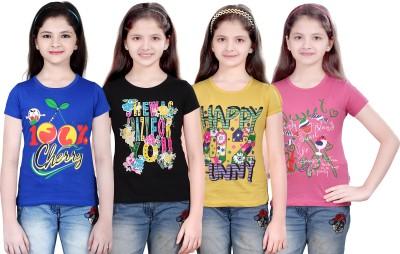 sinimini Printed Girl's Round Neck Dark Blue, Black, Yellow, Pink T-Shirt