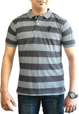 CAPRICIOUS Striped Men's Polo Neck Grey T-Shirt