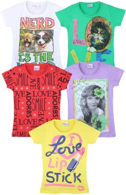 Eimoie Printed Girl's Round Neck Multicolor T-Shirt