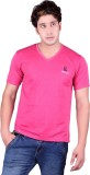 Sellsy Solid Men's V-neck Pink T-Shirt