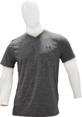 Under Armour Solid Men's V-neck Grey, Green T-Shirt