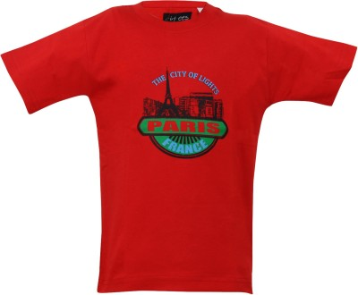 Mintees Graphic Print Boy's Round Neck Red T-Shirt