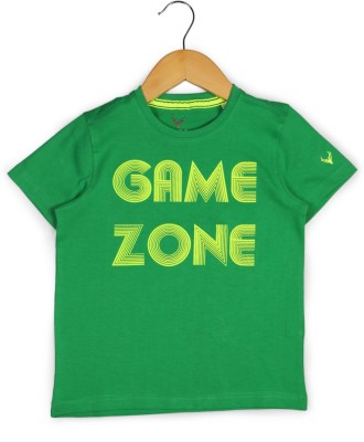 Allen Solly Printed Boy's Round Neck Green T-Shirt
