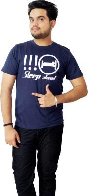 Parv Collections Graphic Print Men's Round Neck Blue T-Shirt