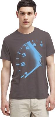 Carte Blanche Printed Men's Round Neck Grey T-Shirt