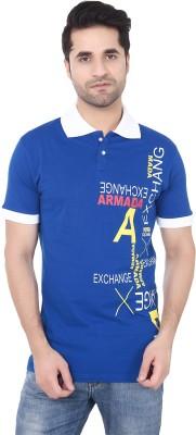 Buff Printed Men's Polo Neck Blue, White T-Shirt