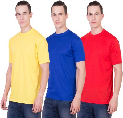 Randier Solid Men's Round Neck Yellow, Blue, Red T-Shirt