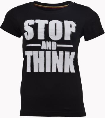 PIN POINT Printed Women's Round Neck Black T-Shirt