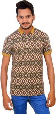BOMBAY BLUES Printed Men's Polo Neck Multicolor T-Shirt