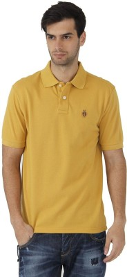 Fahrenheit Solid Men's Polo Neck Gold T-Shirt