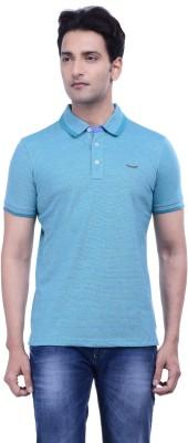 Hoffmen Solid Men's Polo Neck Blue T-Shirt
