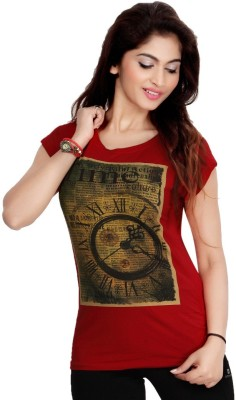 Comix Graphic Print Women's Round Neck Red T-Shirt