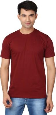Essentiele Solid Men's Round Neck Maroon T-Shirt