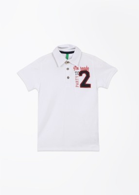 United Colors of Benetton Solid Boy's Polo White T-Shirt