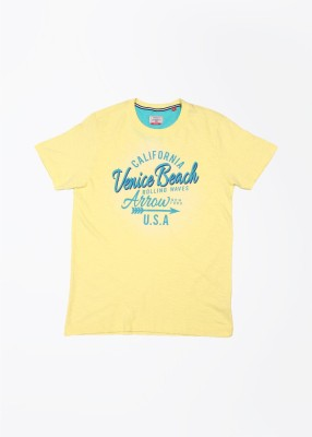 Arrow Sports Printed Men's Round Neck Yellow T-Shirt