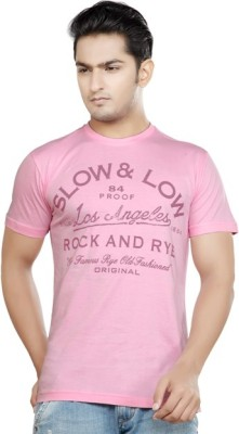 Afylish Printed Men's Round Neck Pink T-Shirt