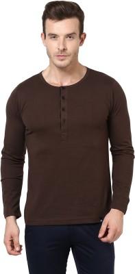 BUKKL Solid Men's Henley Brown T-Shirt