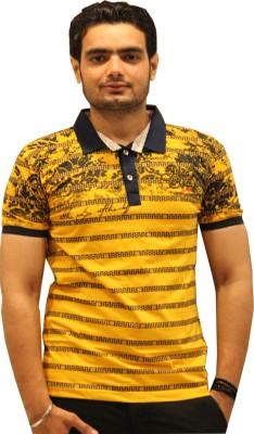 GOPAL EMPORIUM Printed Men's Flap Collar Neck Gold T-Shirt