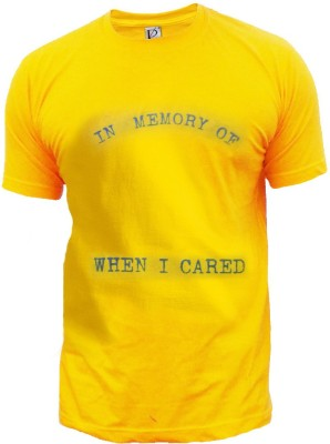 Rolling Ink Printed Men's Round Neck Yellow T-Shirt