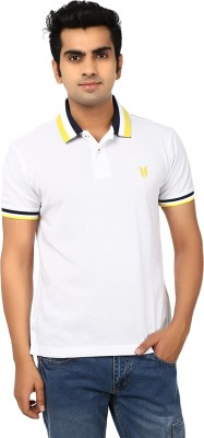 Ruse Solid Men's Polo Neck White, Yellow T-Shirt