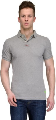Tailor Craft Solid Men's Polo Neck Grey T-Shirt