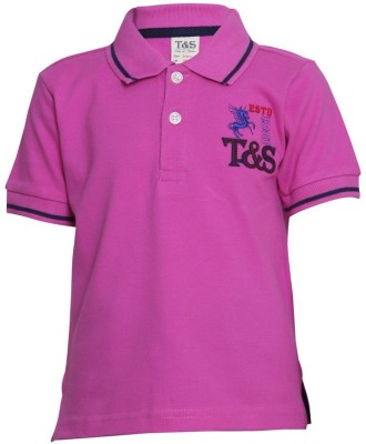 Tales & Stories Solid Boy's Polo Neck Pink T-Shirt