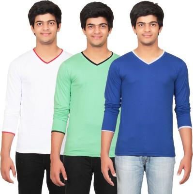 Graceful Self Design Men's V-neck White, Green, Blue T-Shirt