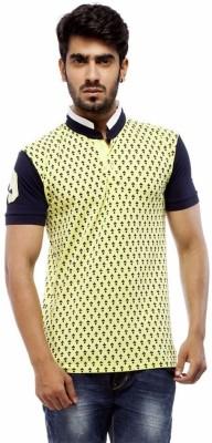 Trendy Bandey Printed Men's Peter Pan Collar Green T-Shirt