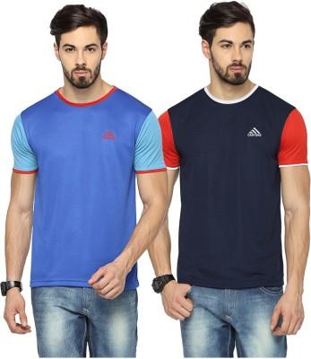 Canyons Solid Men's Round Neck Blue, Dark Blue T-Shirt