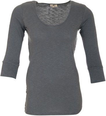 A33 Store Solid Women's Round Neck Grey T-Shirt