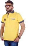 MjString Solid Men's Flap Collar Neck Ye...