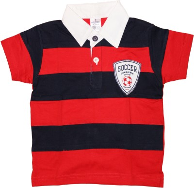 Ollypop Striped Baby Boys Polo Red T-Shirt