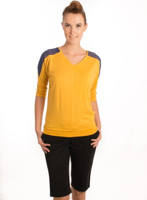 Bombay High Solid Women,s Polo Yellow T-Shirt