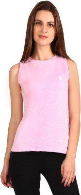 Run of luck Solid Women's Round Neck Pink T-Shirt