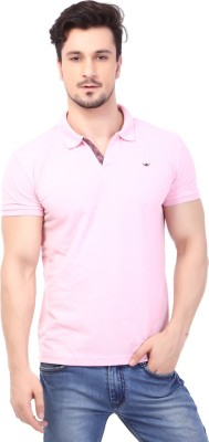 Rugby Solid Men's Polo Neck Pink T-Shirt