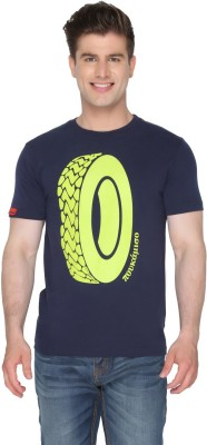 Again Vintage Printed Men's Round Neck Dark Blue T-Shirt