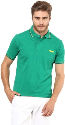 FUNK Solid Men's Polo Neck Green T-Shirt