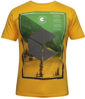 Hefty Graphic Print Men's Round Neck Yellow T-Shirt