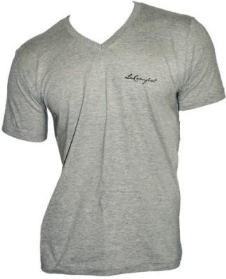 LaKomfort Solid Men's V-neck Grey T-Shirt