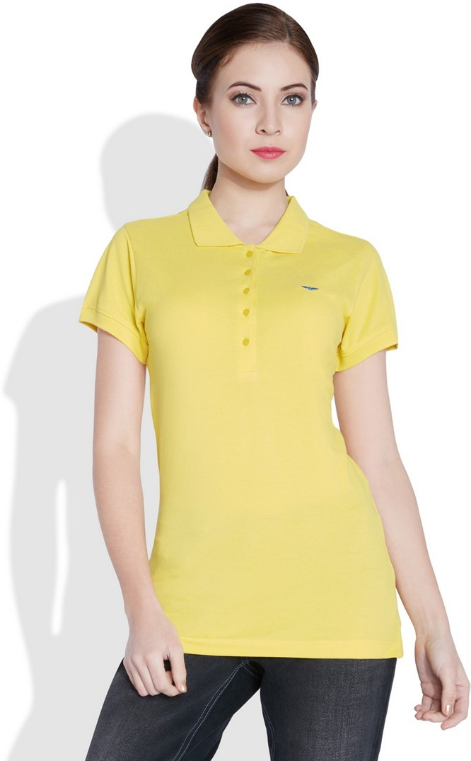 Park Avenue Solid Womens Flap Collar Neck Yellow T-Shirt
