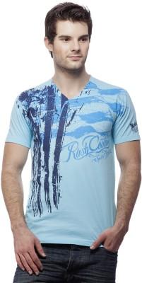 Rush Couture Graphic Print Men's V-neck Blue T-Shirt
