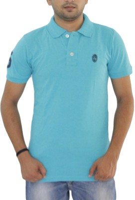 Grey Tree Solid Men,s Polo Neck Blue T-Shirt