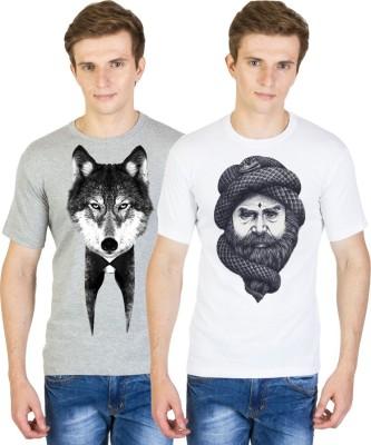 Madink Animal Print Men's Round Neck White, Grey T-Shirt
