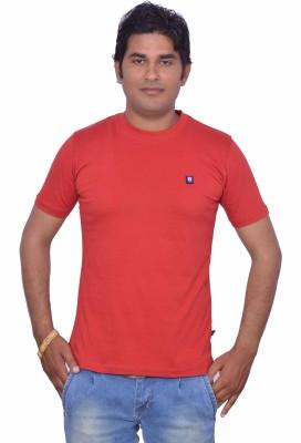 LEAF Solid Men's Round Neck Red T-Shirt