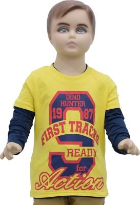 Urban Forest Graphic Print Boy's Round Neck Yellow T-Shirt
