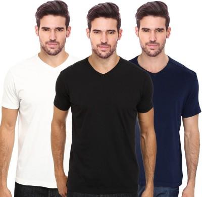 Smart Look 7 Solid Men's V-neck Black, White, Blue T-Shirt