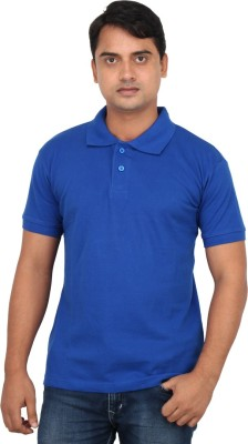 LOOX by Apoorti Solid Men's Polo Neck Blue T-Shirt