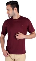 Humbert Solid Men's Round Neck Maroon T-Shirt