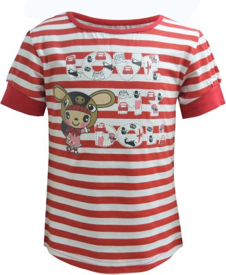 Blueriver Graphic Print Girl's Round Neck Red T-Shirt